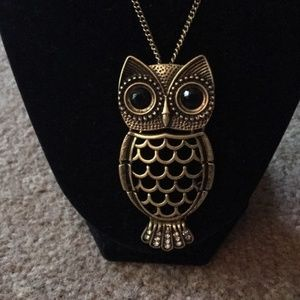 NIB Wise Owl Goldtone Long Necklace & Pin